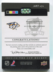 2011-12 The Cup Printing Plates Artifacts Magenta #171 Blake Geoffrion #1/1 | Eastridge Sports Cards