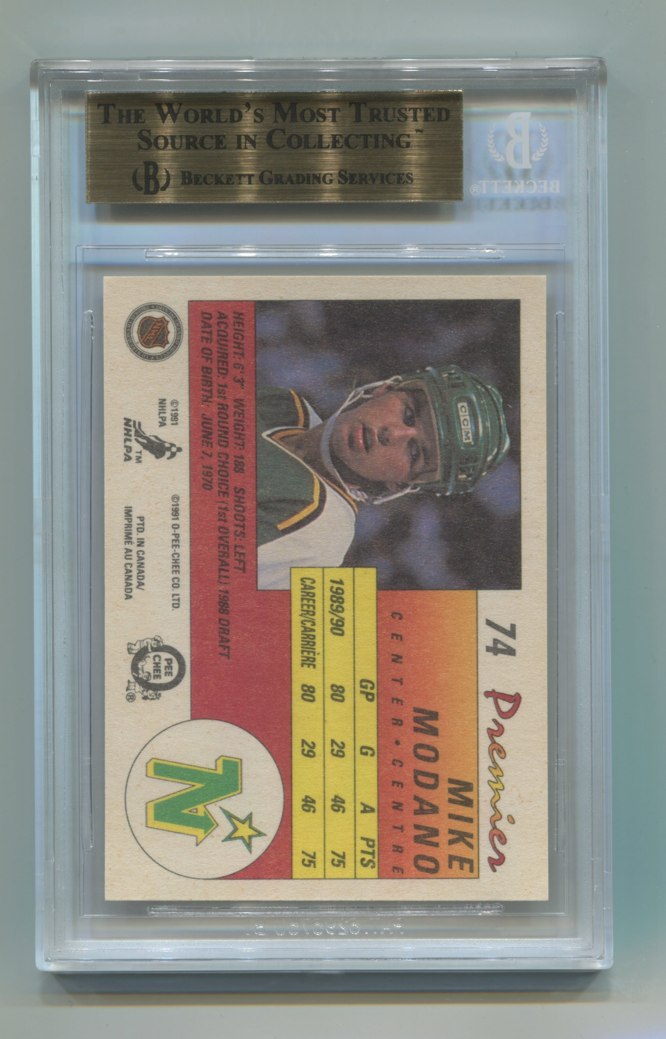 1990-91 OPC Premier #74 Mike Modano BGS 9.5 (Rookie) | Eastridge Sports Cards