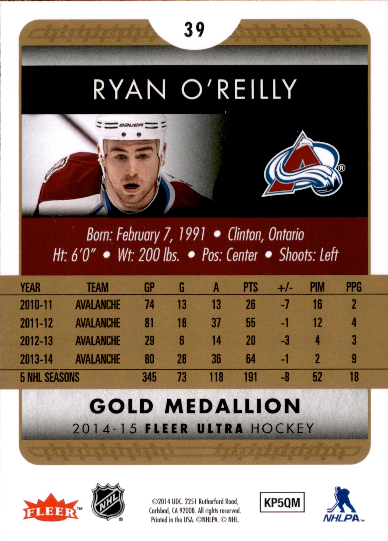 2014-15 Fleer Ultra Gold Medallion #039 Ryan O'Reilly | Eastridge Sports Cards