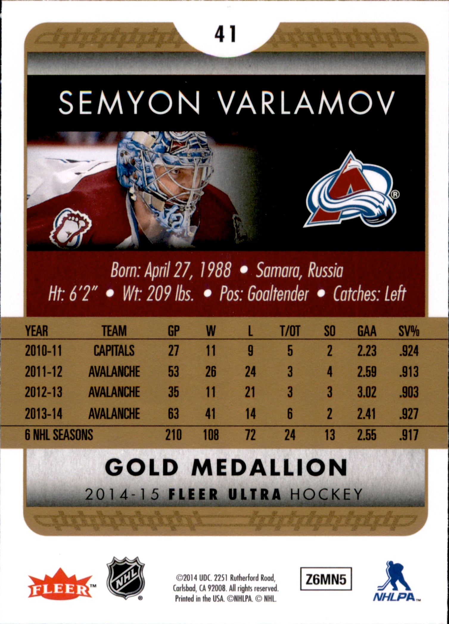 2014-15 Fleer Ultra Gold Medallion #041 Semyon Varlamov | Eastridge Sports Cards