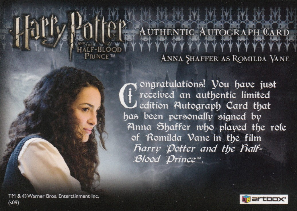 2009 Harry Potter and the Half-Blood Prince Update Autographs - Anna Shaffer as Romilda Vane | Eastridge Sports Cards