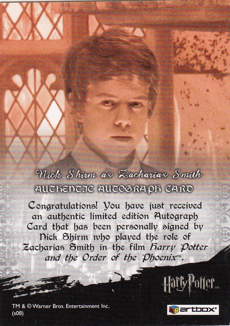 2008 World of Harry Potter 3-D Series Two Autographs - Nick Shirm as Zacharias Smith | Eastridge Sports Cards