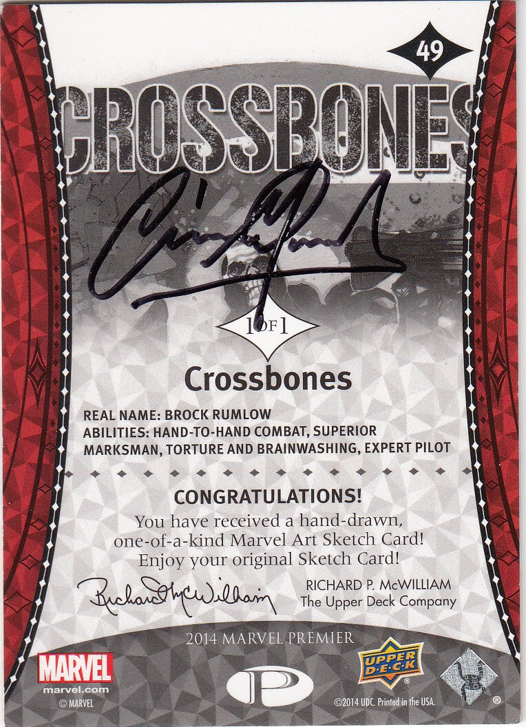 2014 Marvel Premier Artist Sketches #49 Crossbones | Eastridge Sports Cards