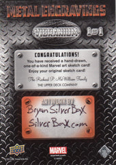 2015 Marvel Vibranium Metal Engraving Sketches #NNO Bryan SilverBaX Sheppard 1/1 | Eastridge Sports Cards