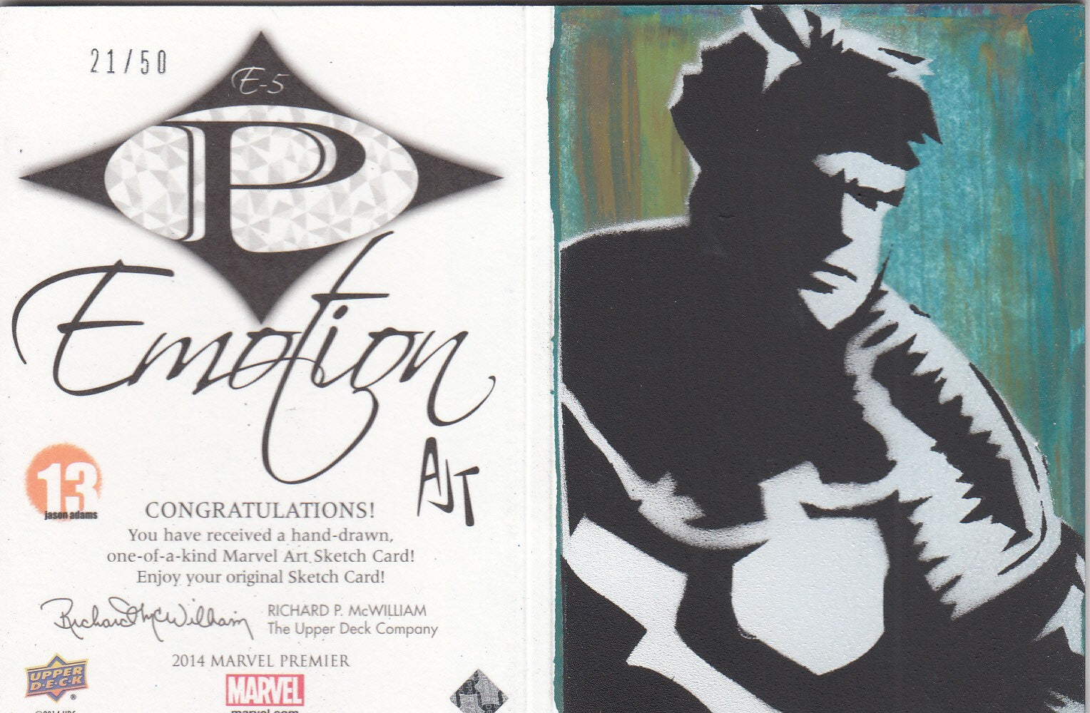 2014 Marvel Premier Emotion Booklets Sketch #E5 Gambit/Guile  #/50 | Eastridge Sports Cards