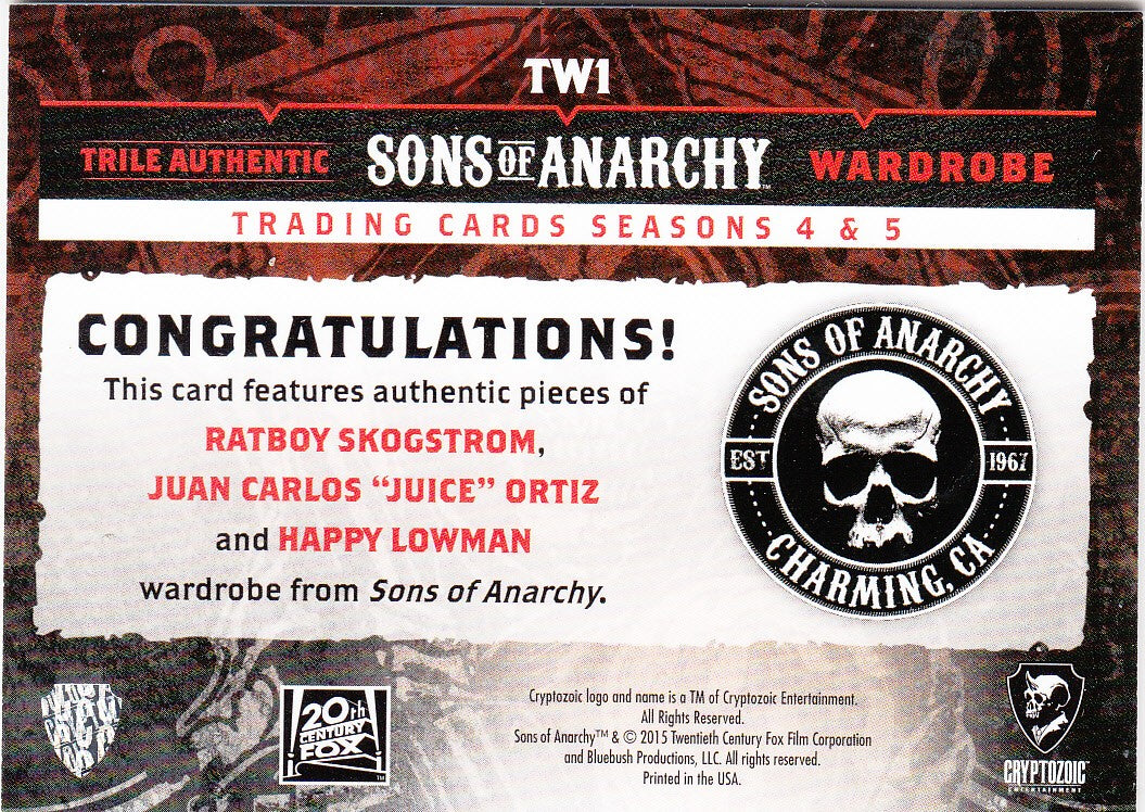 2015 Sons of Anarchy Seasons 4-5 Triple Wardrobes #TW1 Ratboy - Juice - Happy | Eastridge Sports Cards