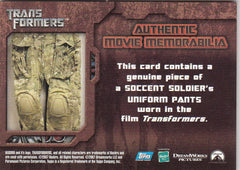 2007 Transformers Authentic Movie Memorabilia #NNO SOCCENT Soldiers Pants | Eastridge Sports Cards