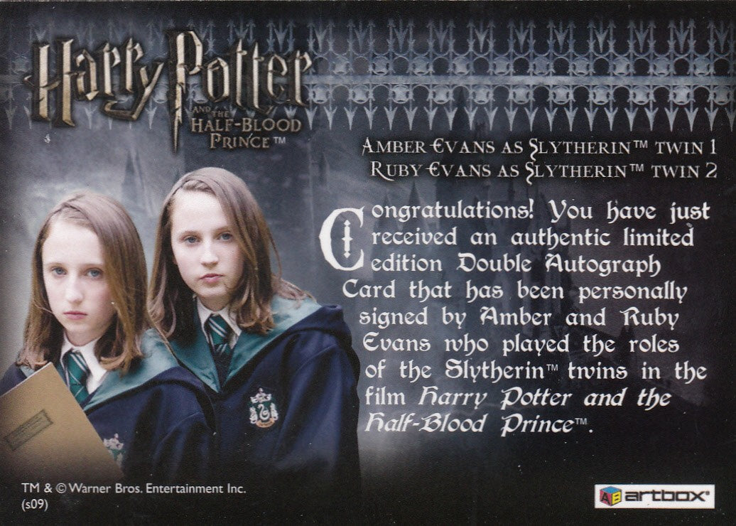 2009 Harry Potter and the Half-Blood Prince Update Autographs - Amber Evans and Ruby Evans as Slytherin Twins SP | Eastridge Sports Cards