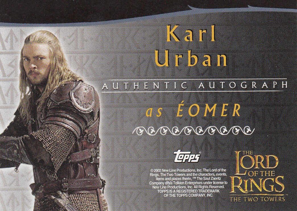 2002 Lord of the Rings Two Towers Autographs - Karl Urban | Eastridge Sports Cards