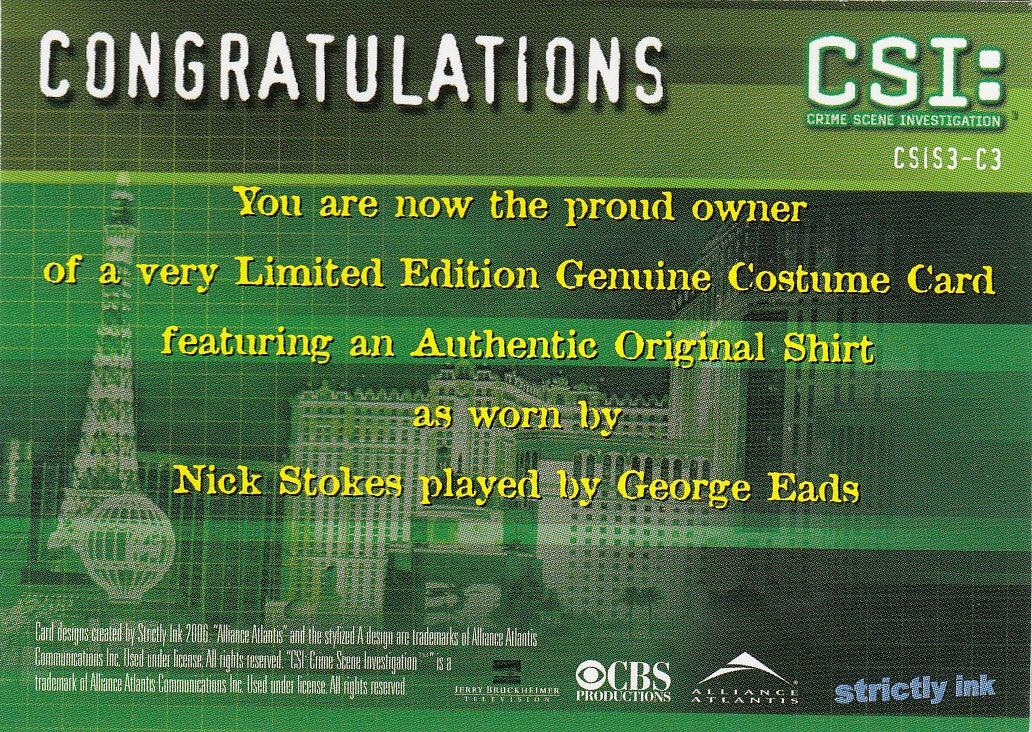2006 CSI Series Three Costumes #CSIS3-C3 - George Eads | Eastridge Sports Cards