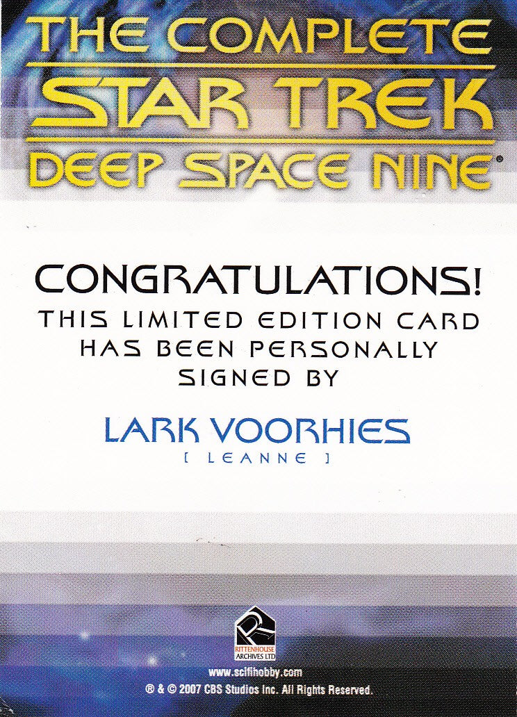 2007 Quotable Star Trek Deep Space Nine Autographs #NNO - Lark Voorhies as Leanne | Eastridge Sports Cards