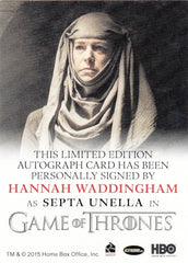 2016 Game of Thrones Season Five Full Bleed Autographs - Hannah Waddingham as Septa Unella | Eastridge Sports Cards