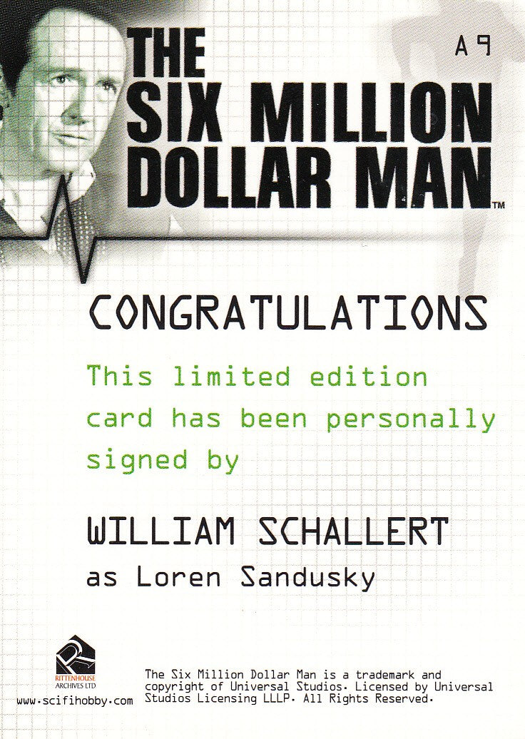 2004 Complete Six Million Dollar Man Seasons One and Two Autographs #A9 - William Schallert | Eastridge Sports Cards