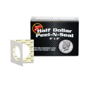 BCW Peel-N-Seal Flips 2x2 - Adhesive - Half Dollar | Eastridge Sports Cards