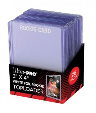 "Ultra Pro 3"" X 4"" Rookie White Letters Toploaders 25ct 