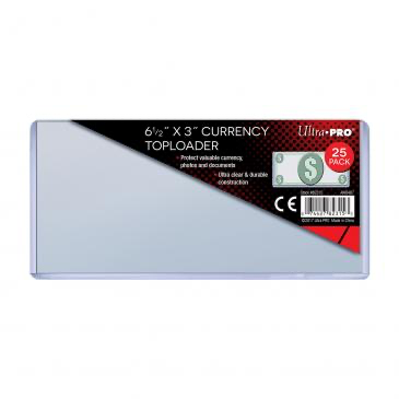 "Ultra Pro 6-1/2"" x 3"" Currency Toploader 25ct 
