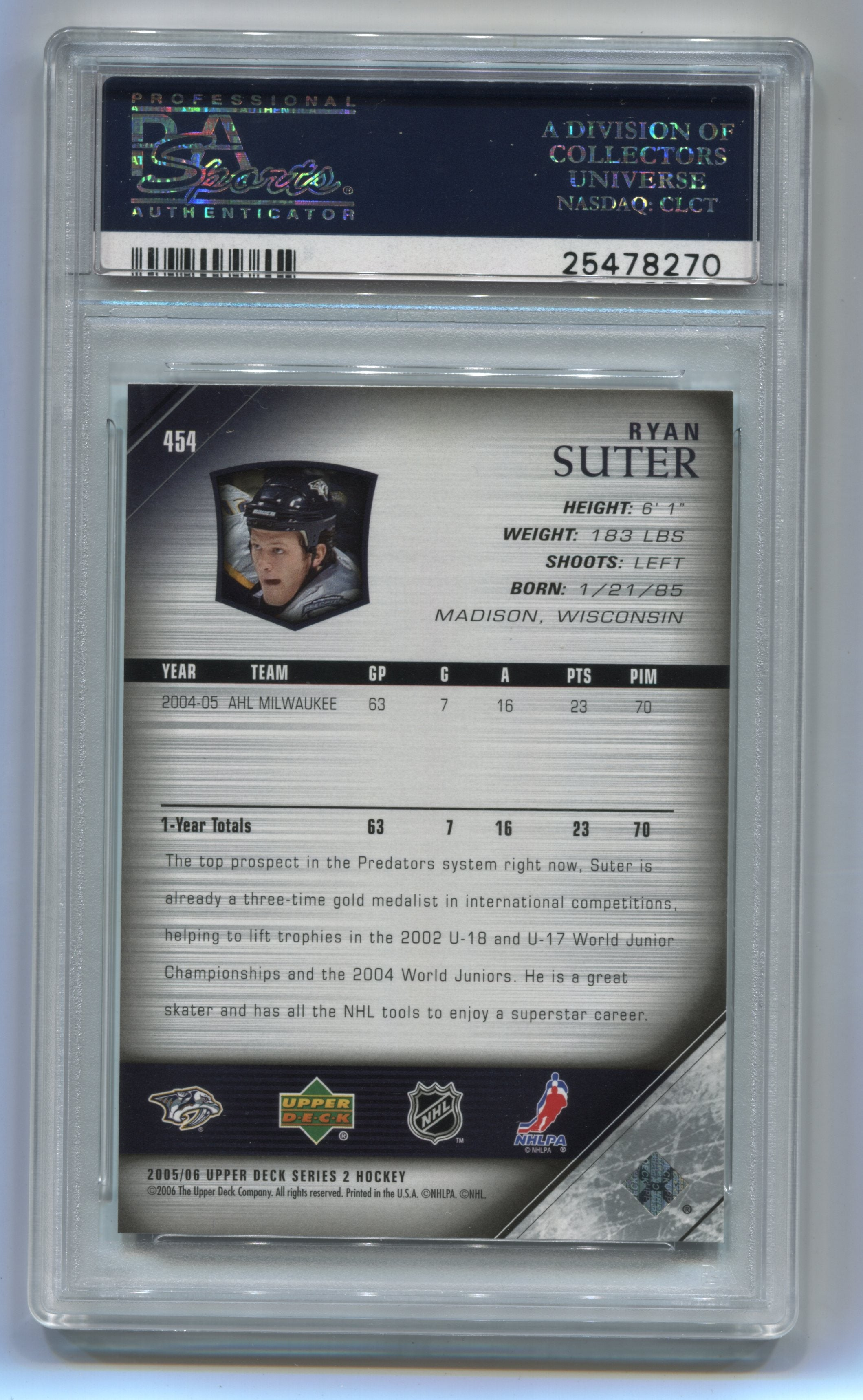 2005-06 Upper Deck #454 Ryan Suter PSA 10 (Rookie) | Eastridge Sports Cards