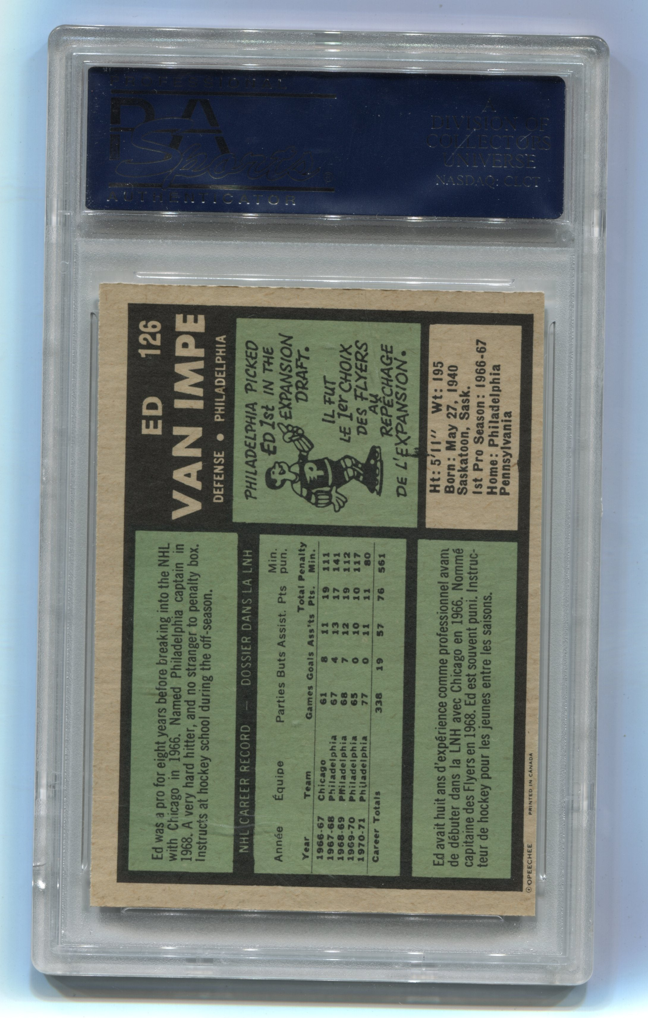 1971-72 O-Pee-Chee #126 Ed Van Impe PSA 8 | Eastridge Sports Cards