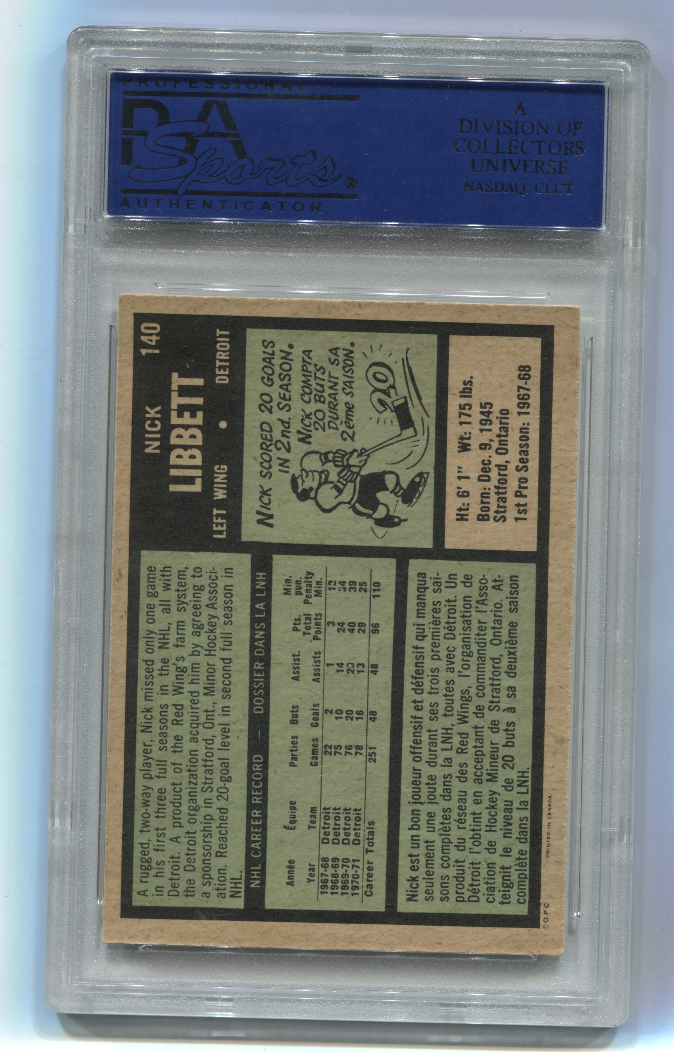 1971-72 O-Pee-Chee #140 Nick Libett PSA 8 | Eastridge Sports Cards