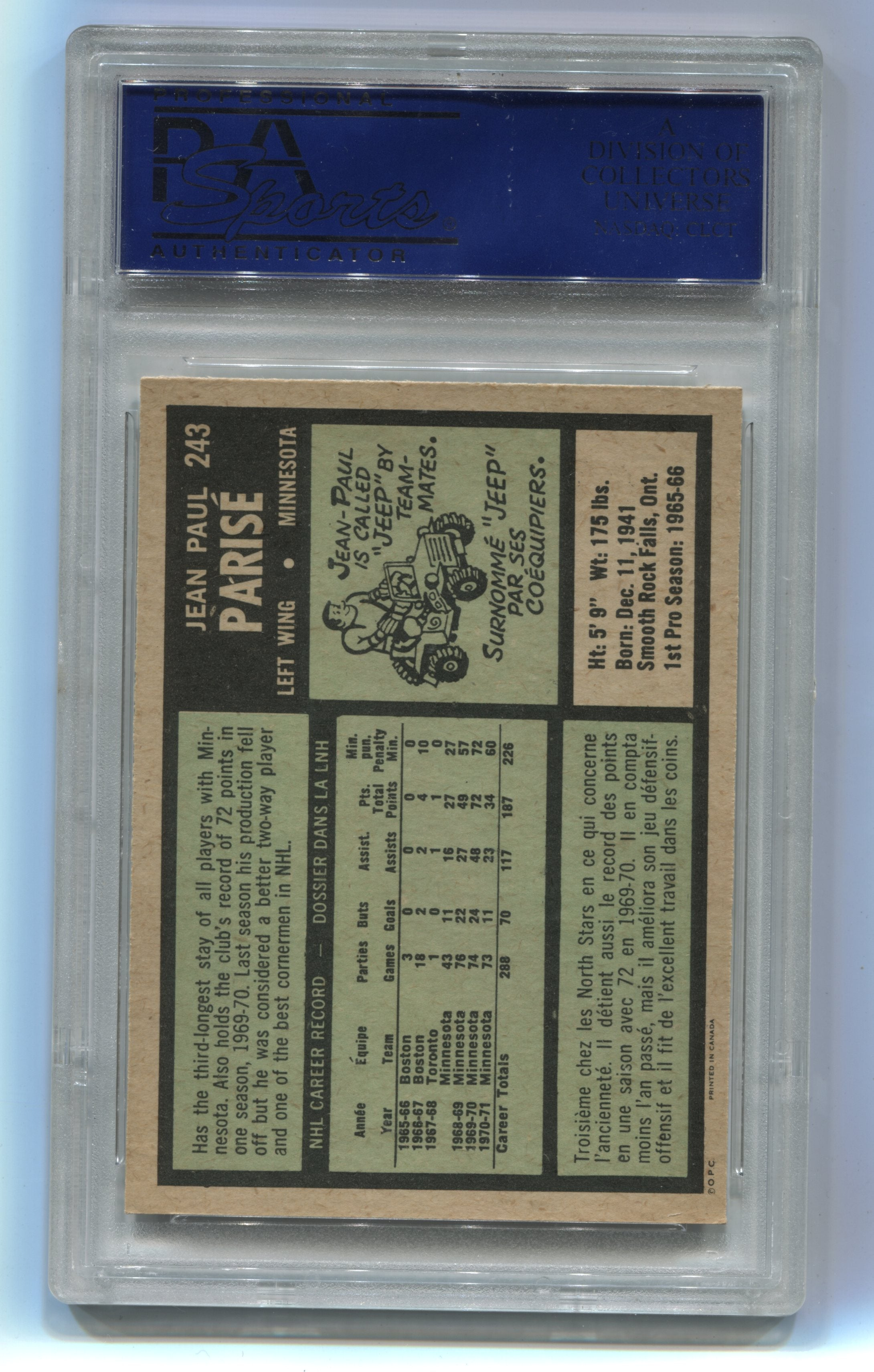 1971-72 O-Pee-Chee #243 Jean-Paul Parise PSA 8 | Eastridge Sports Cards