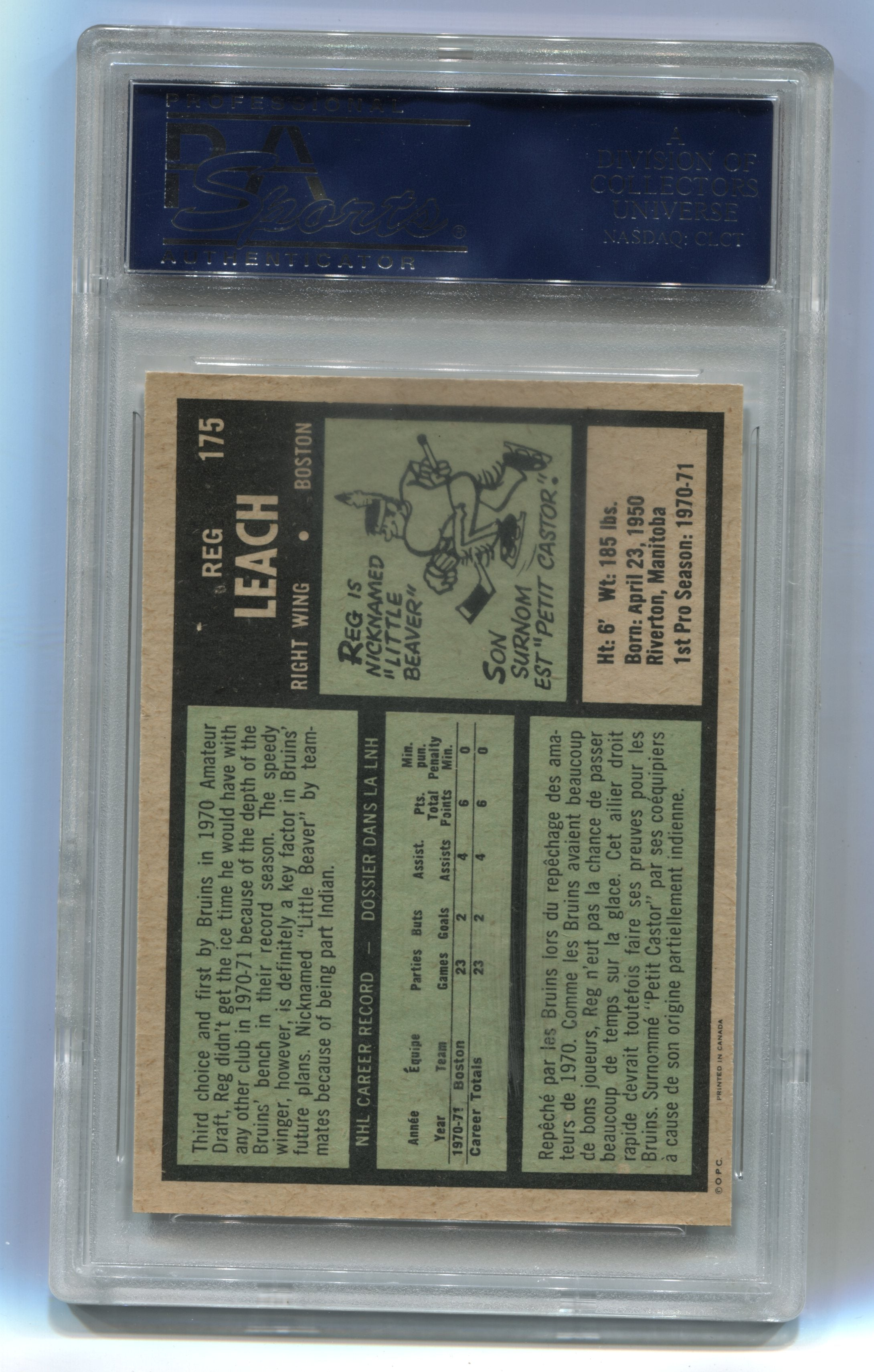 1971-72 O-Pee-Chee #175 Reggie Leach PSA 8 (Rookie) | Eastridge Sports Cards