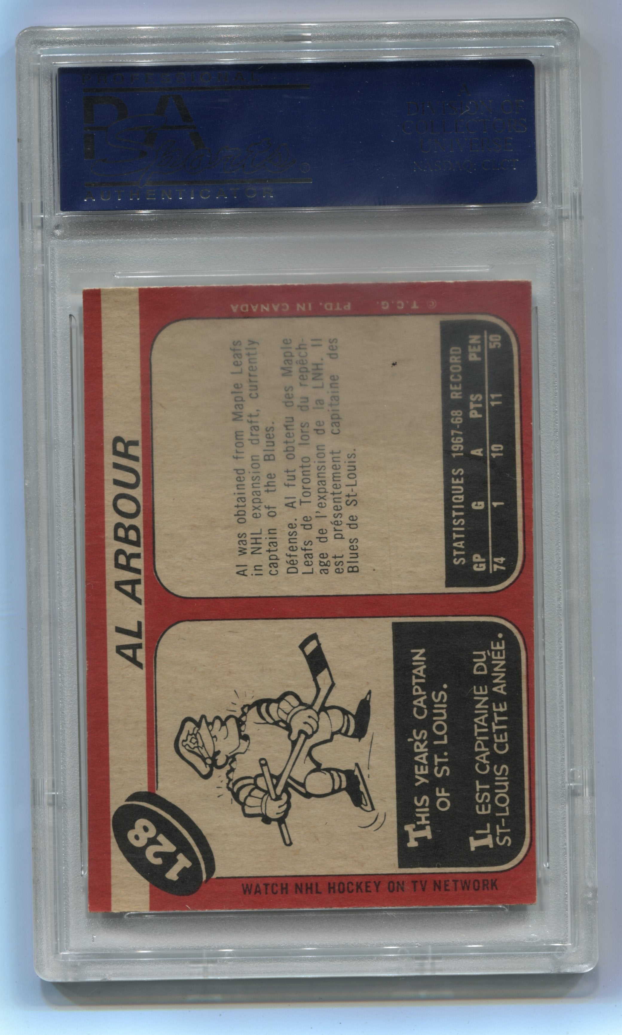 1968-69 O-Pee-Chee #128 Al Arbour PSA 7 | Eastridge Sports Cards
