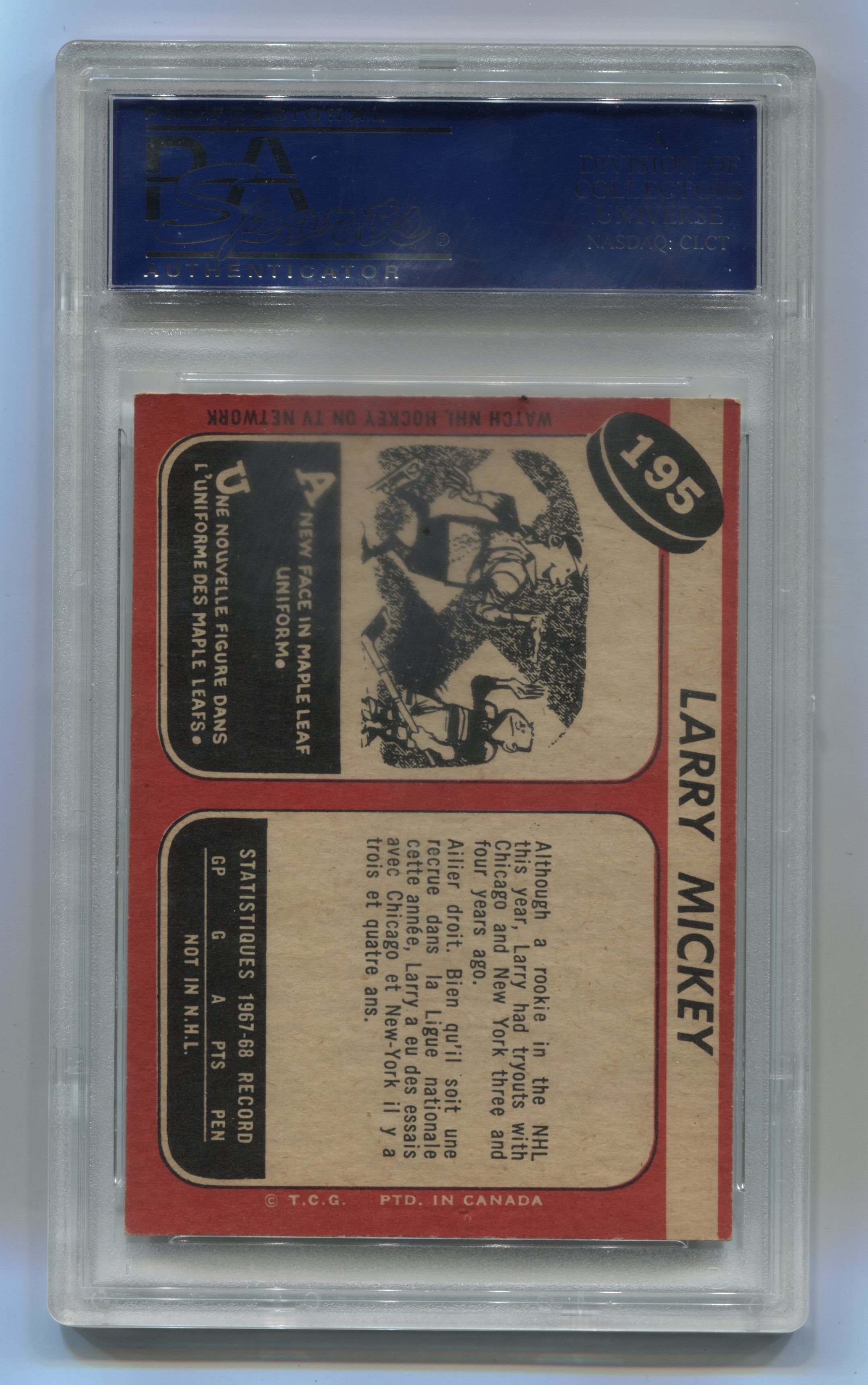 1968-69 O-Pee-Chee #195 Larry Mickey PSA 8 (Rookie) | Eastridge Sports Cards