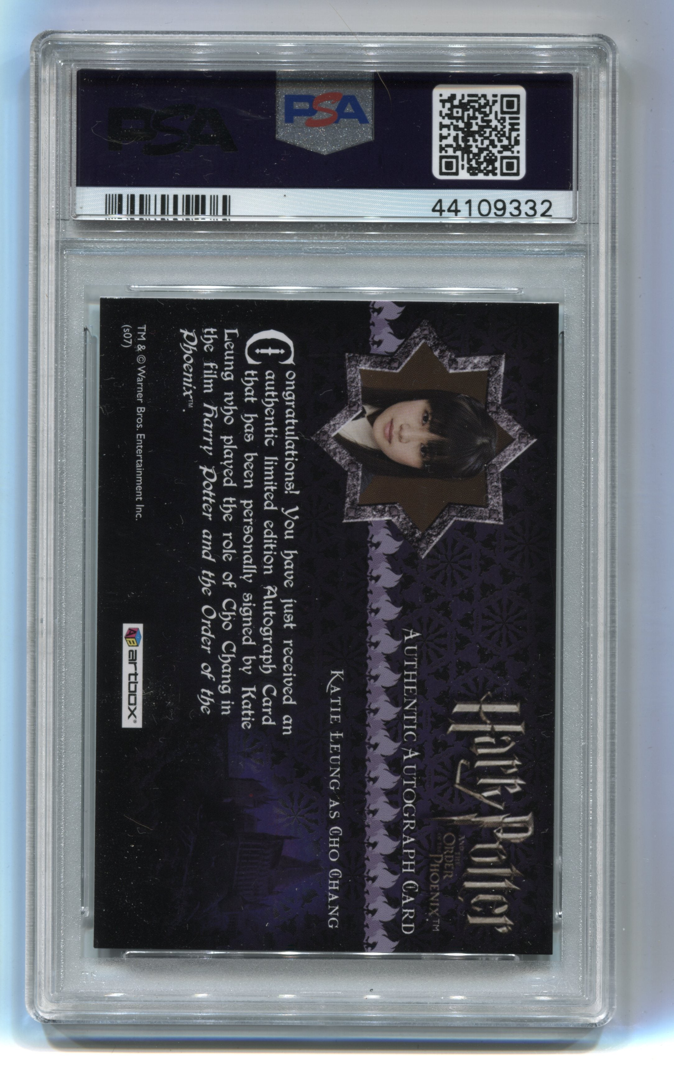 2007 Harry Potter and the Order of the Phoenix Autographs Katie Leung PSA 7 | Eastridge Sports Cards