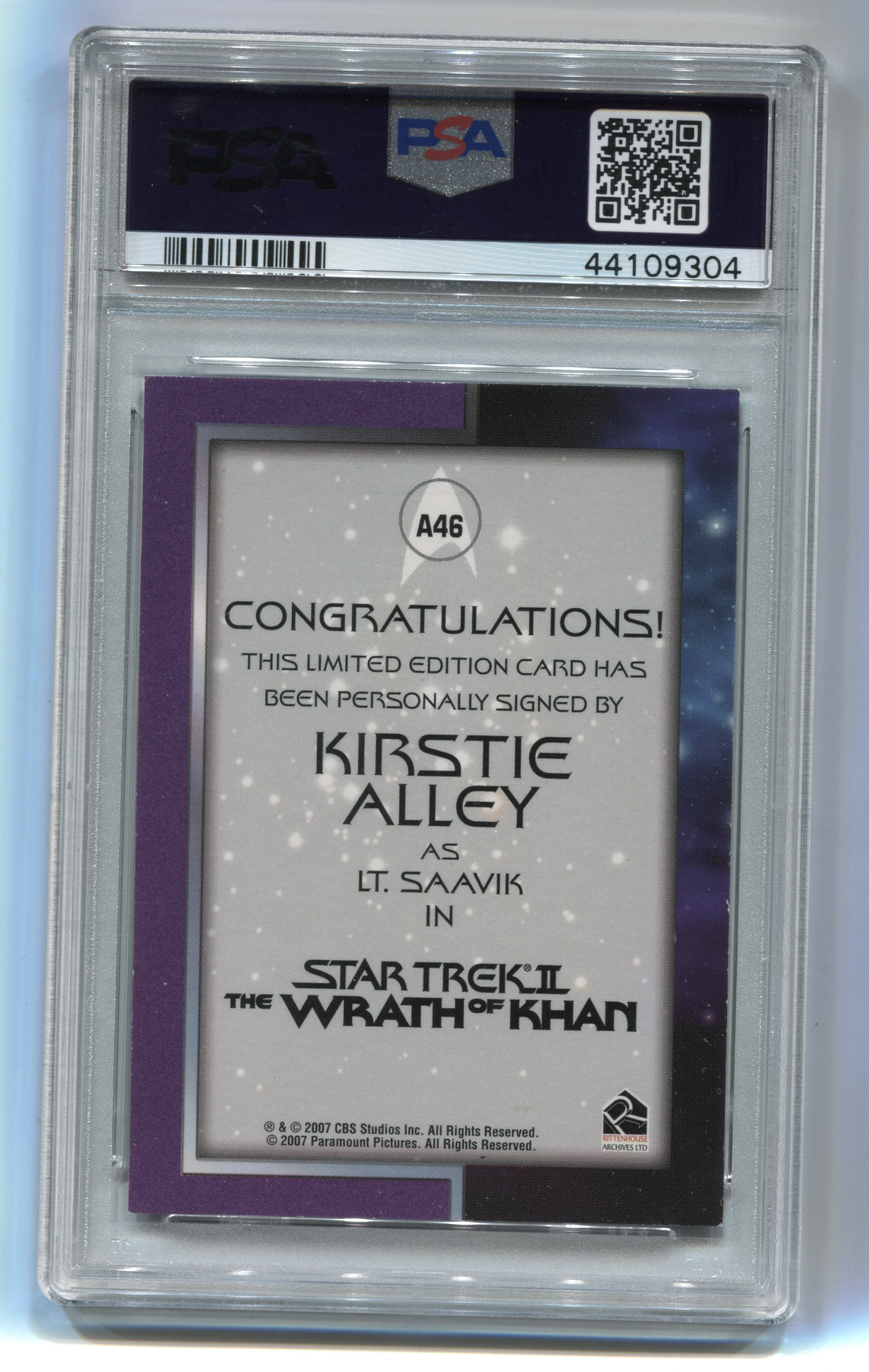2008 Star Trek Movies In Motion Autographs #A46 Kirstie Alley PSA 7 | Eastridge Sports Cards