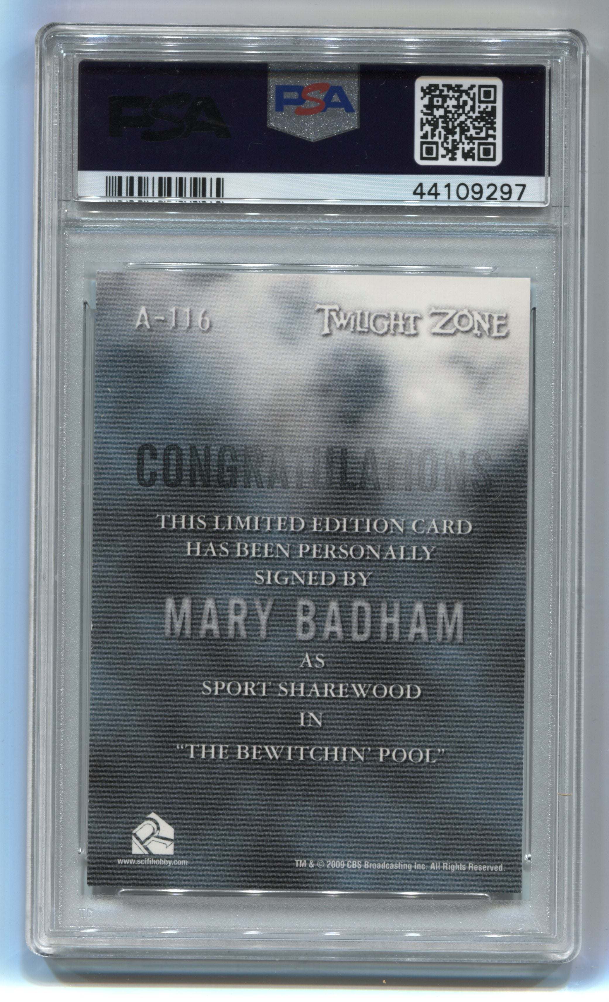 2009 Complete Twilight Zone Autographs #A116 Mary Badham PSA 8 | Eastridge Sports Cards