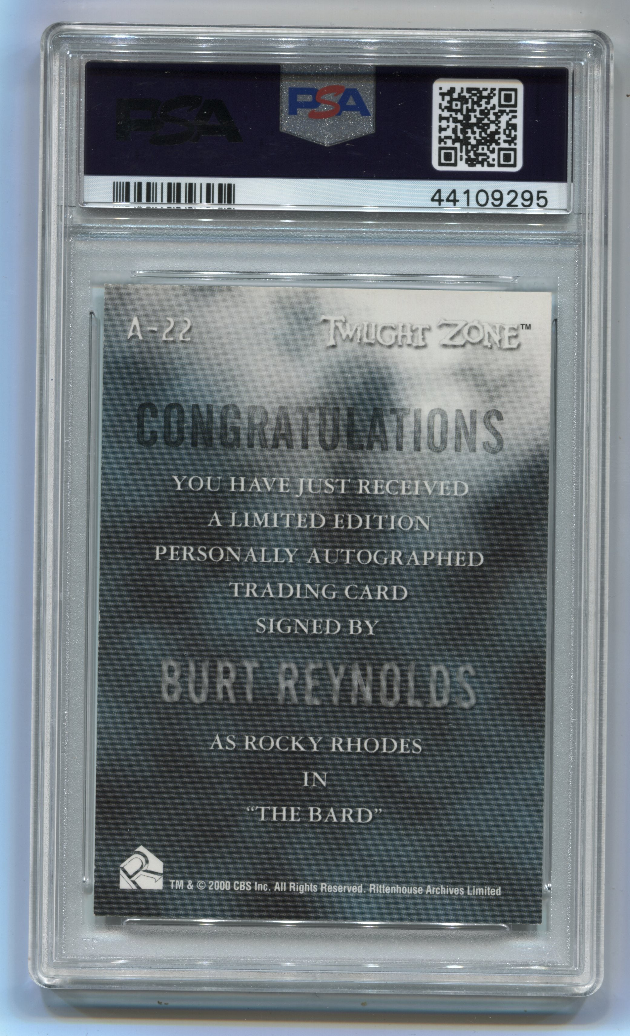 2000 Twilight Zone The Next Dimension Autographs #A22 Burt Reynolds PSA 8 | Eastridge Sports Cards