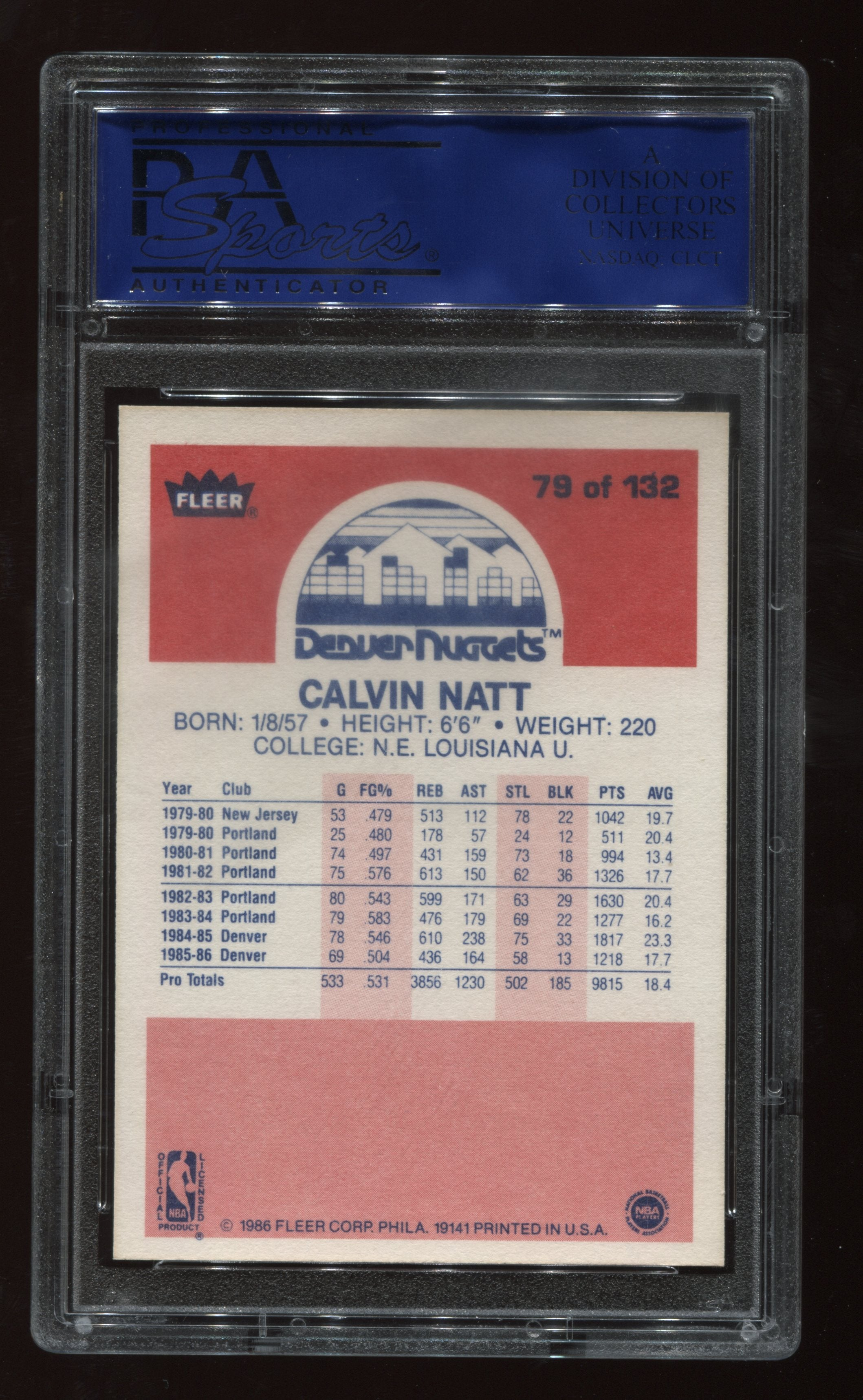 1986-87 Fleer #79 Calvin Natt PSA 9 | Eastridge Sports Cards