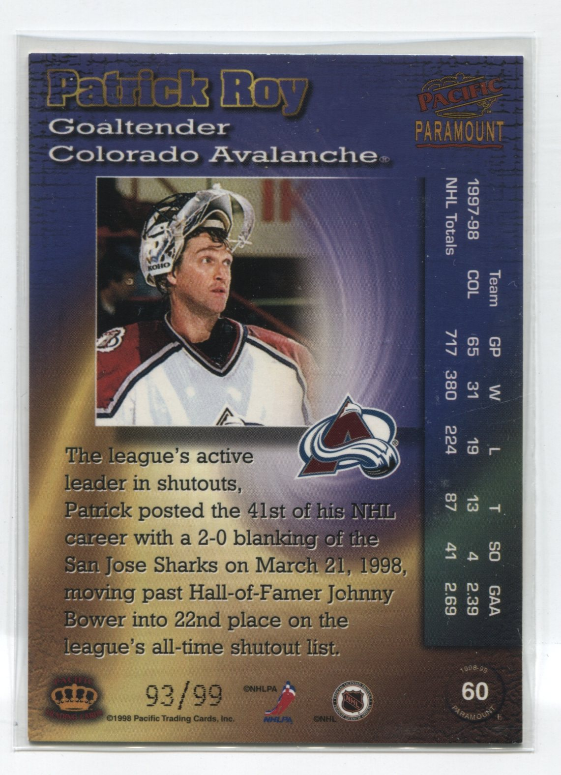 1998-99 Paramount HoloElectric #60 Patrick Roy #/99 | Eastridge Sports Cards