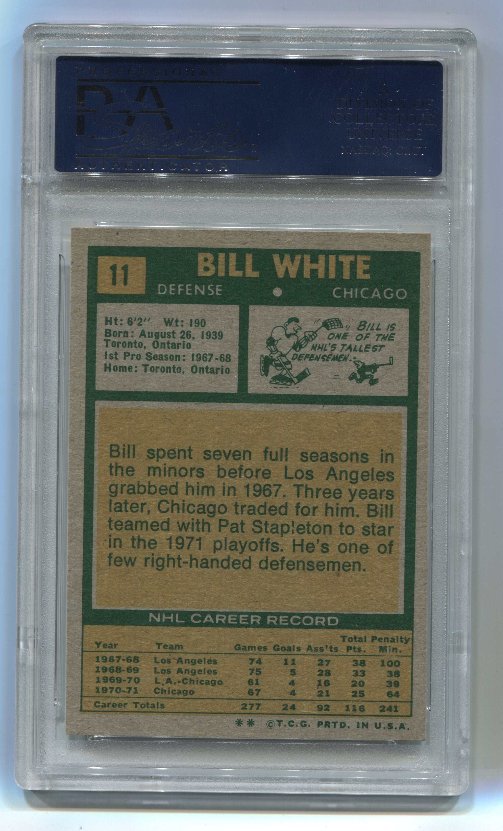 1971-72 Topps #11 Bill White PSA 7 | Eastridge Sports Cards