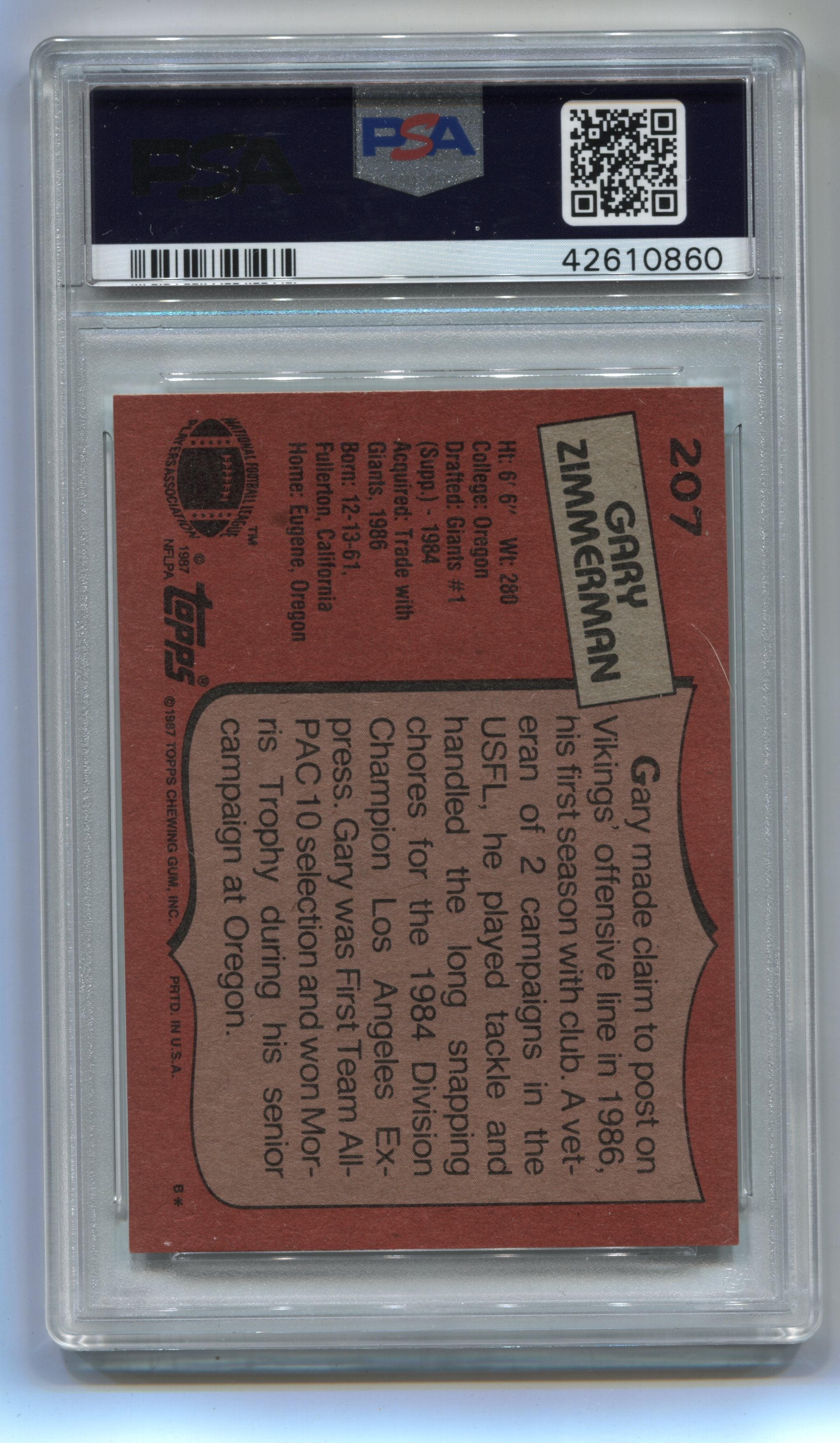 1987 Topps #207 Gary Zimmerman PSA 8 (Rookie) | Eastridge Sports Cards