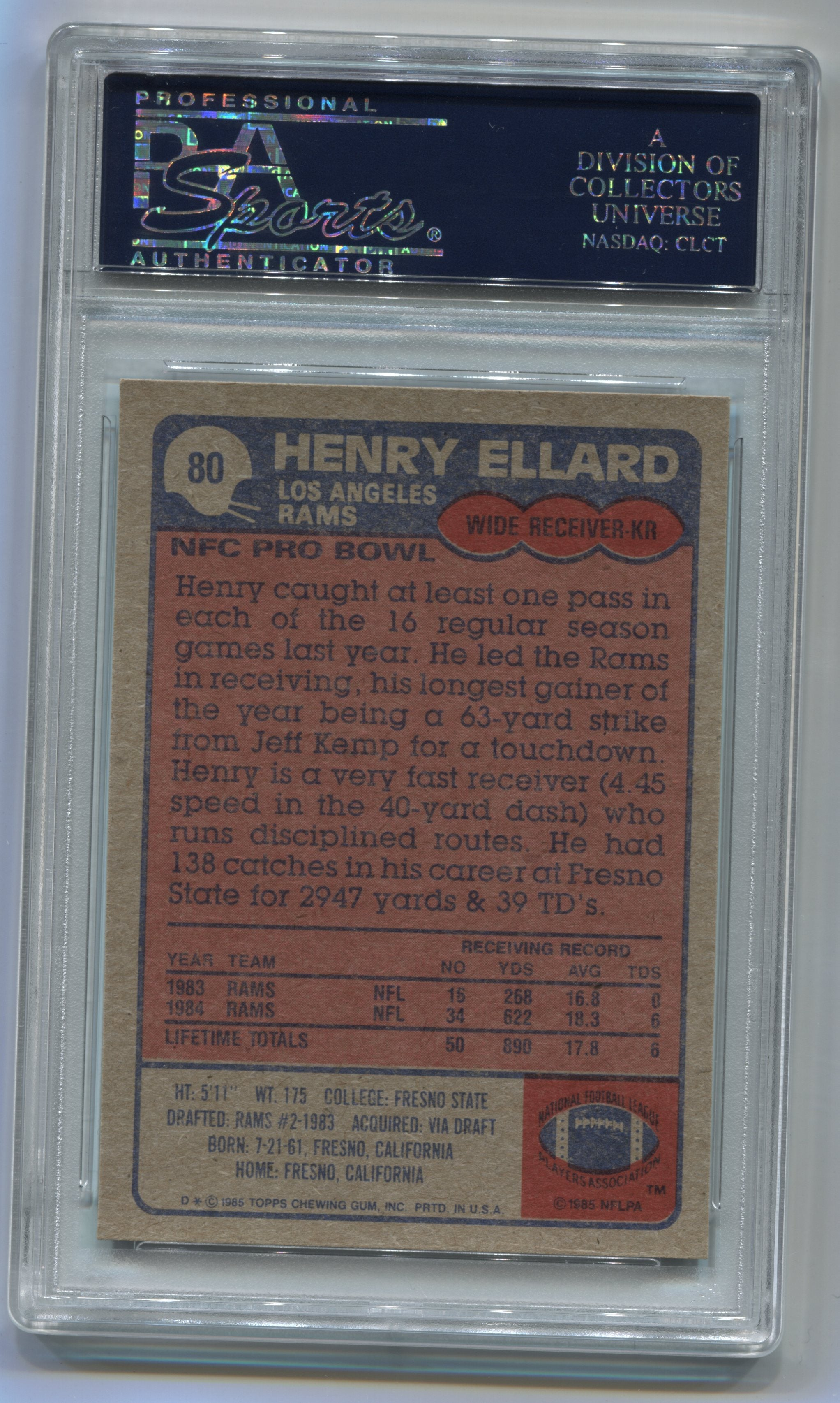 1985 Topps #80 Henry Ellard PSA 7 (Rookie) | Eastridge Sports Cards