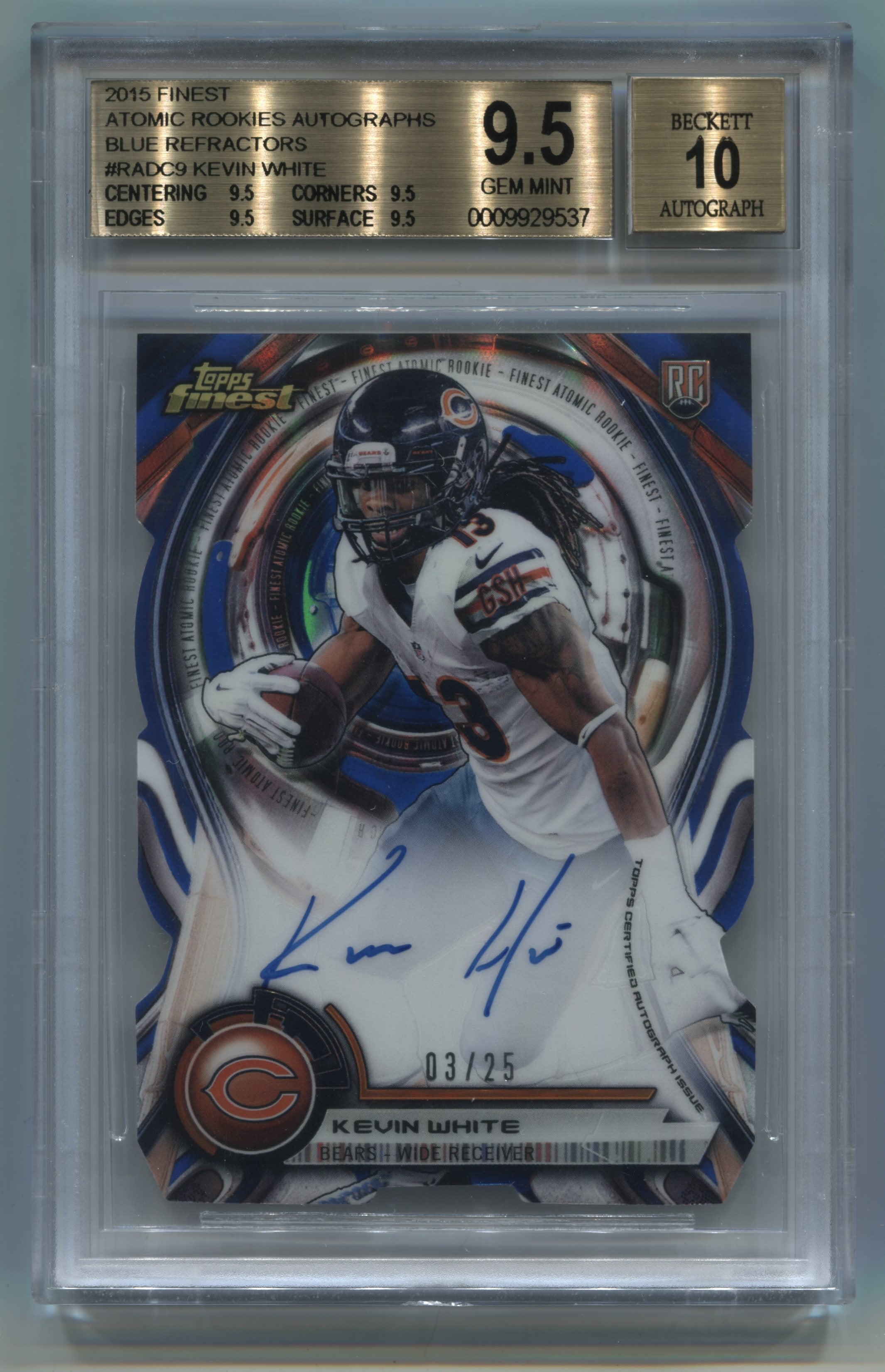 2015 Finest Atomic Refractor Rookies Autographs Blue Refractors #RADC9 Kevin White #03/25 BGS 9.5/10 | Eastridge Sports Cards