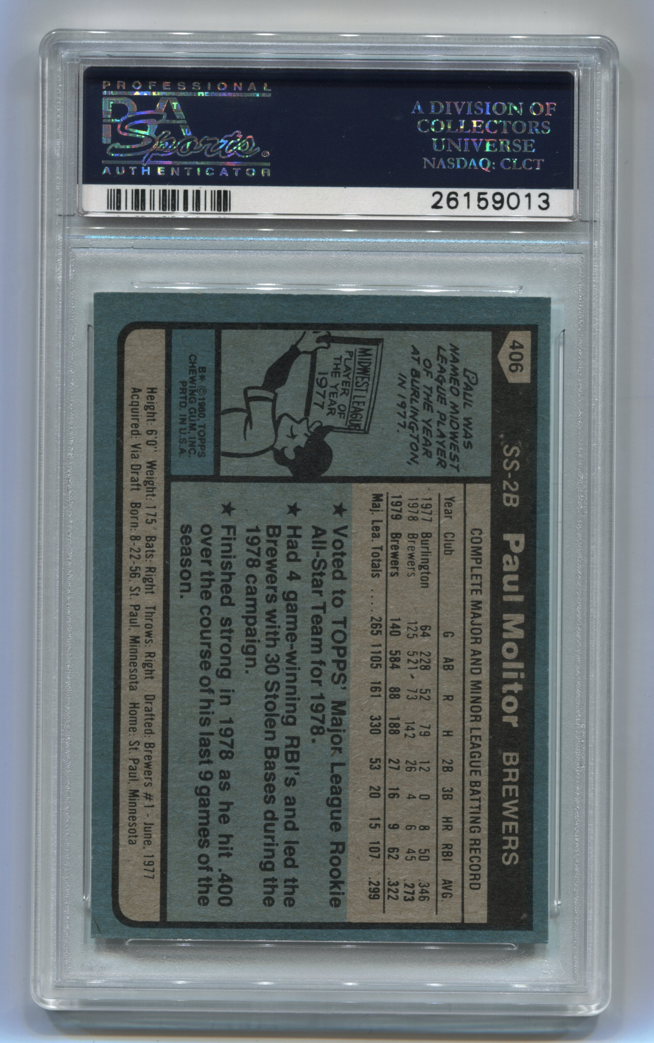 1980 Topps #406 Paul Molitor PSA 9 | Eastridge Sports Cards