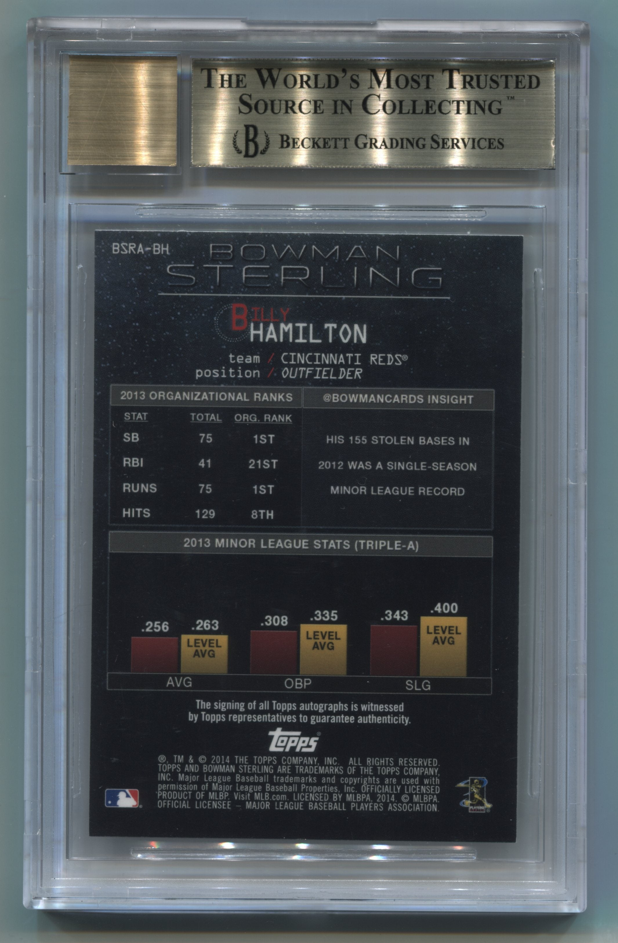 2014 Bowman Sterling Rookie Autographs #BSRABH Billy Hamilton BGS 9.5/10 | Eastridge Sports Cards