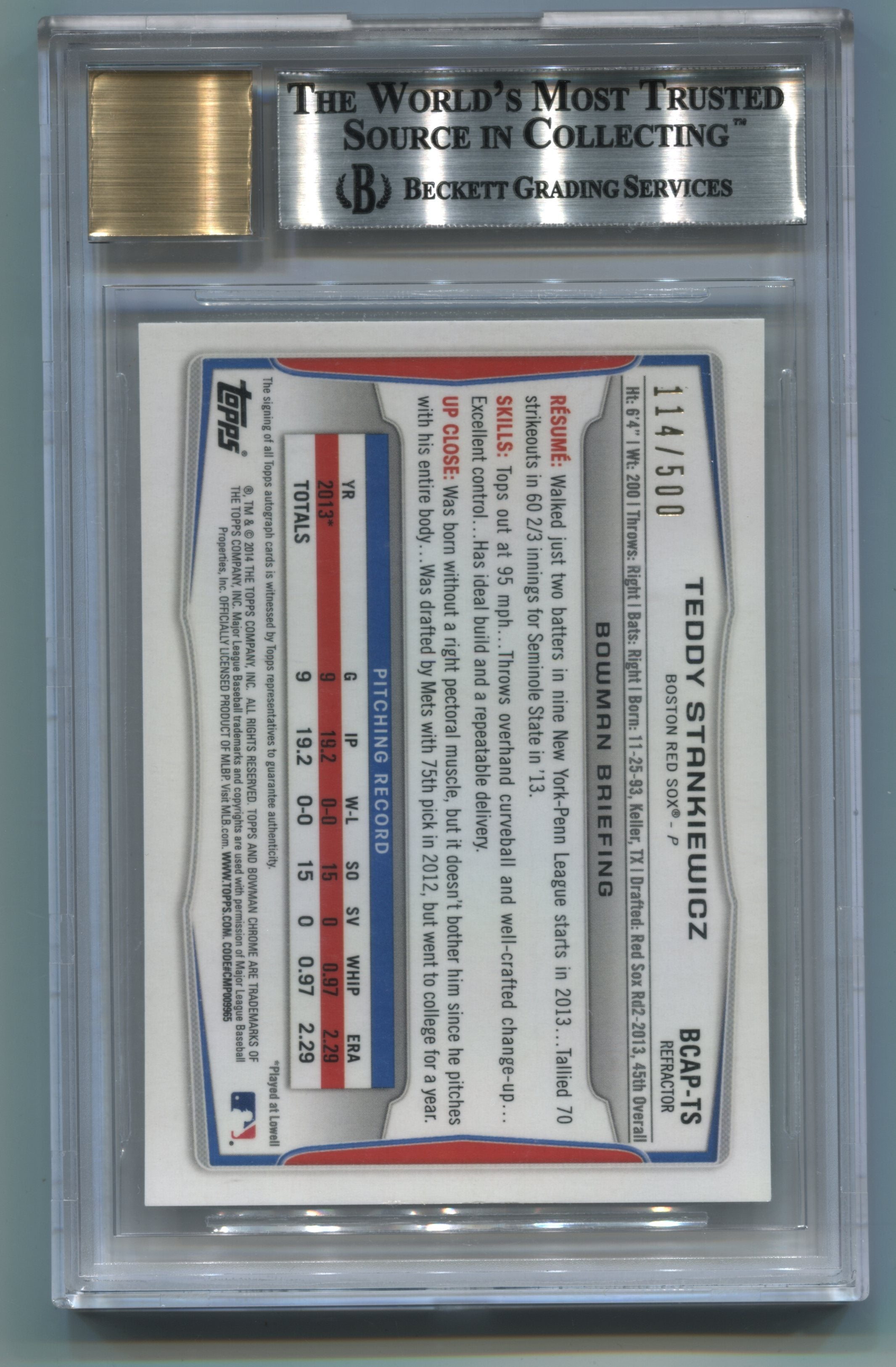 2014 Bowman Chrome Prospect Autographs Refractors #BCAPTS Teddy Stankiewicz #114/500 BGS 9/10 | Eastridge Sports Cards