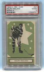 "1933-34 O-Pee-Chee V304A #27 Ralph ""Cooney"" Weiland PSA 2 (Rookie) 