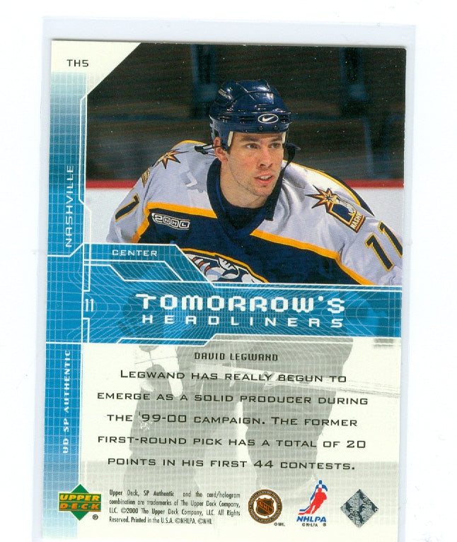 1999-00 SP Authentic Tomorrow's Headliners #TH05 David Legwand | Eastridge Sports Cards