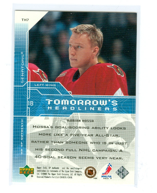 1999-00 SP Authentic Tomorrow's Headliners #TH07 Marian Hossa | Eastridge Sports Cards