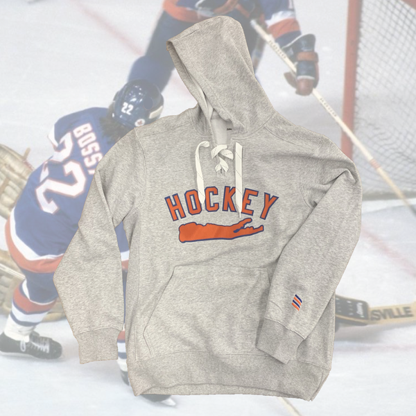 Grey Hockey Lace Hoodie-yesmenoutfitters.com