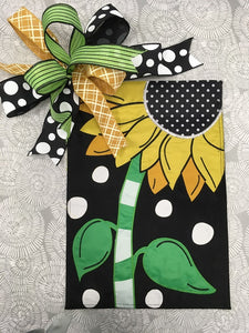 Swiss Dot Sunflower Flag and Bow
