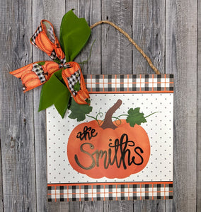 Personalized Check & Dot Pumpkin Sign