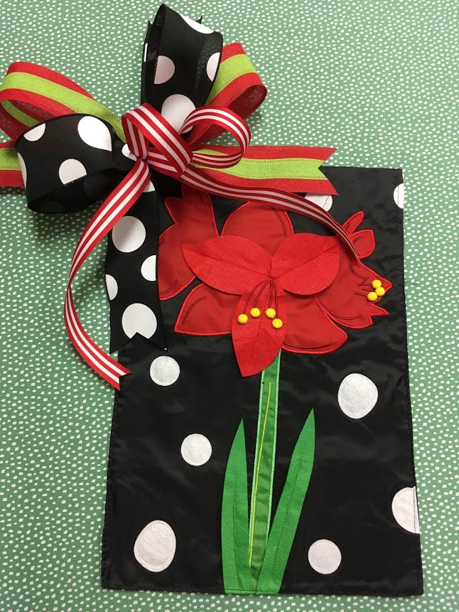 Red Amaryllis Flower Flag and Bow