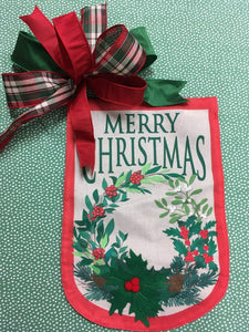 Burlap Merry Christmas Flag and Bow