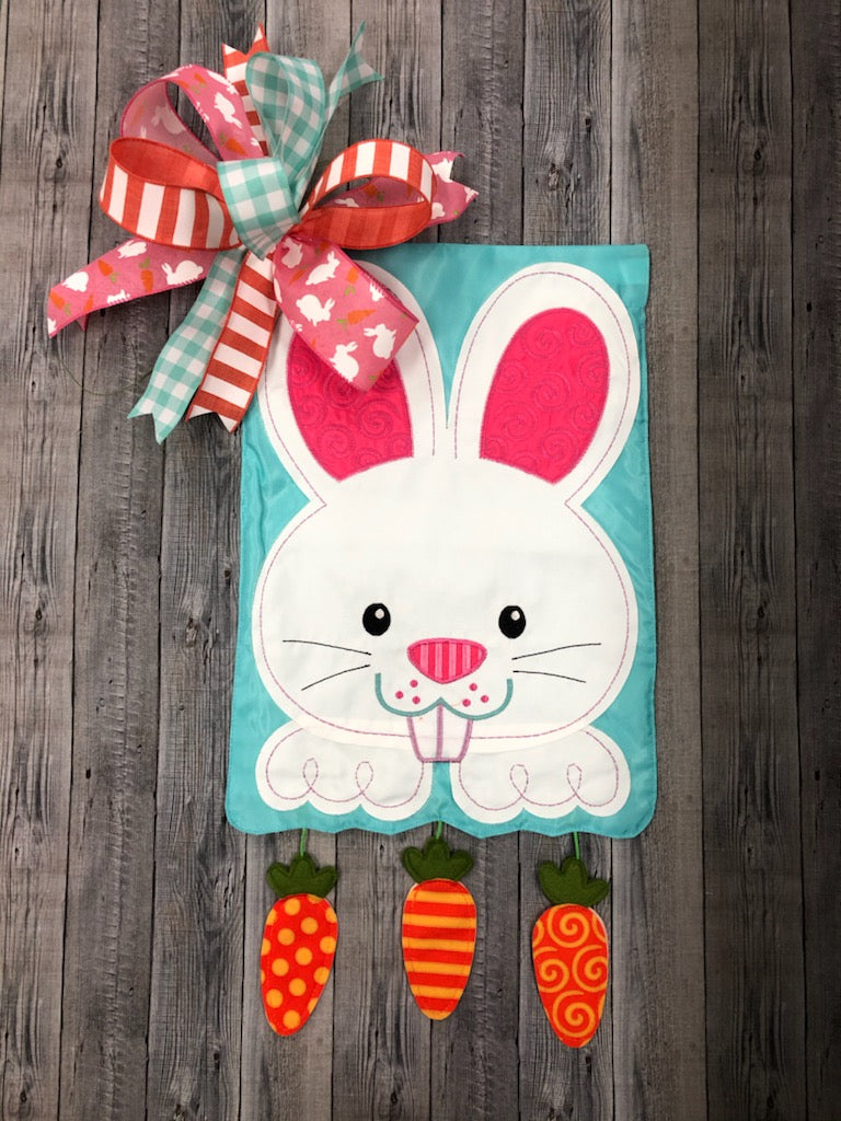 Bunny with Dangle Carrots Flag + Bow Combo