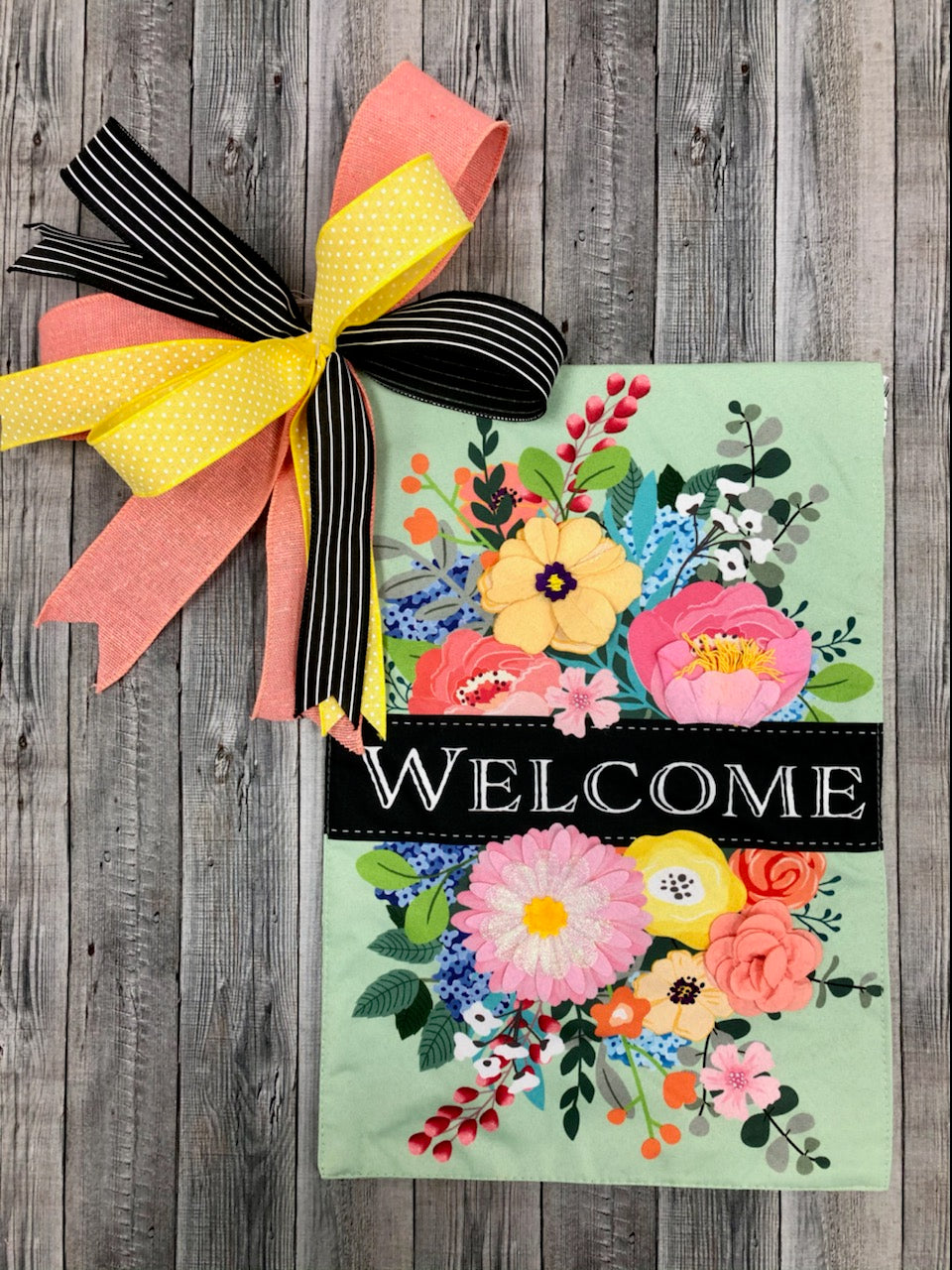 Spring Flowers Welcome Garden flag + Bow Combo